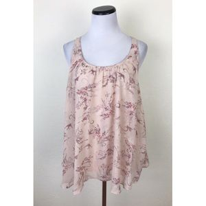 LC Lauren Conrad Floral Bird Print Tank Top XL